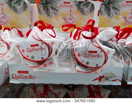 Raffaello Candy In The Form Of A Ball-shaped Waffle With Almonds Produced By Ferrero At Auchan Shopp
