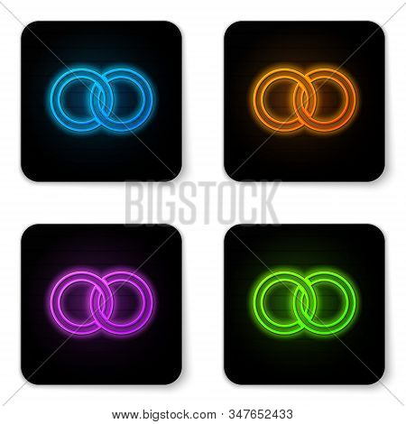 Glowing Neon Wedding Rings Icon Isolated On White Background. Bride And Groom Jewelery Sign. Marriag