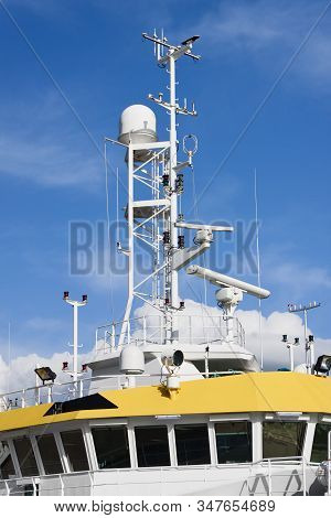 Command Bridge, Antennas, Radar, Anemometer And Other Communication And Navigation Equipment On The