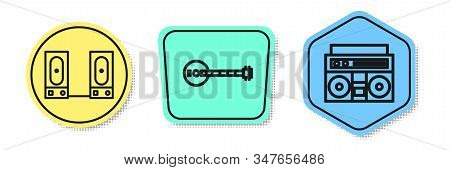 Set Line Stereo Speaker, Banjo And Home Stereo With Two Speakers. Colored Shapes. Vector