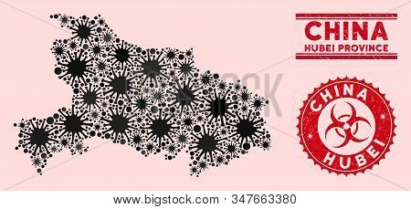 Coronavirus Collage Hubei Province Map And Red Rubber Stamp Seals With Biohazard Symbol. Hubei Provi