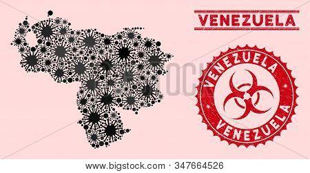 Coronavirus Collage Venezuela Map And Red Rubber Stamp Seals With Biohazard Sign. Venezuela Map Coll