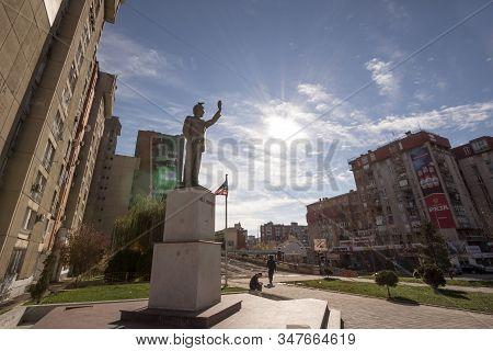 Prishtina, Kosovo - November 13, 2016: Bill Clinton Statue On Bill Klinton Boulevard. The Statue Was