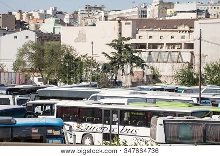 Belgrade, Serbia - April 29, 2018: Intercity Coaches And Buses Parked On A Parking Lot, Waiting To S