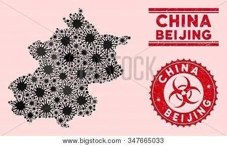 Coronavirus Collage Beijing City Map And Red Rubber Stamp Seals With Biohazard Sign. Beijing City Ma