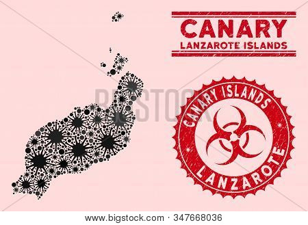 Coronavirus Collage Lanzarote Islands Map And Red Grunge Stamp Seals With Biohazard Sign. Lanzarote