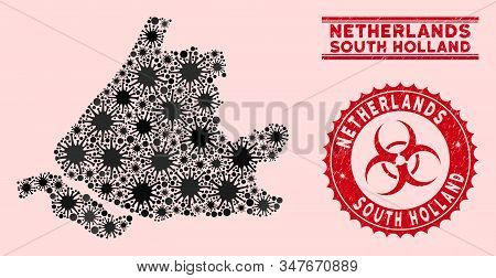 Coronavirus Mosaic South Holland Map And Red Grunge Stamp Seals With Biohazard Symbol. South Holland