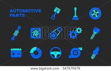 Flat And Simple Icons Of Automotive Components. Line Icons From Automotive Parts In Two Different Co