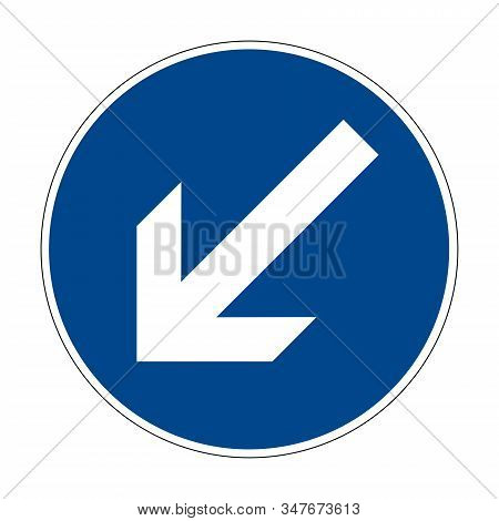 Detour The Obstacle On The Left. Road Sign Of Germany. Europe. Vector Graphics.