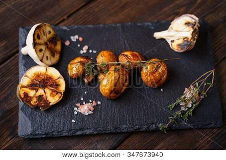Summer Snack, Grill Bar, Tasty Barbecue Champignons. Summer Delicious Healthy Food For Vegetarians,