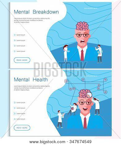 Web Page Of Mental Breakdown. Metaphor Of Split Personality Disorder, Borderline Disorder, Schizophr
