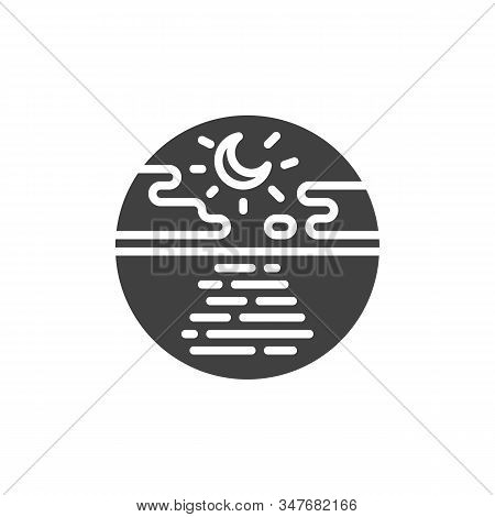 Night Sea With Moon And Clouds Vector Icon. Filled Flat Sign For Mobile Concept And Web Design. Tran