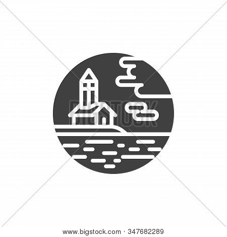 Chapel And Sea Vector Icon. Filled Flat Sign For Mobile Concept And Web Design. Chapel Hill By The S