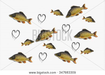 Fishing Hook Love Heart Sign With Carp Fish Isolated On A White Background. Fishing Tackle. Stainles