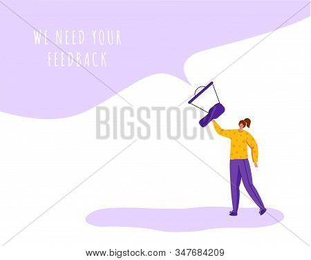 Client Feedback Concept, Tiny Girl With Giant Bullhorn And Copy Space, Web Banner With Place For Tex