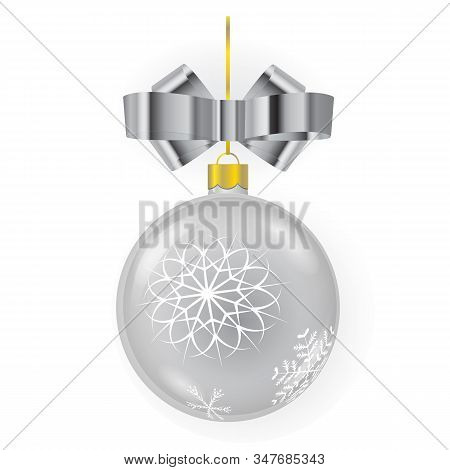 Silver New Year Tree Ball With Mettalic Ribbon Bow And Ornaments Isolated On White Background. Usefu
