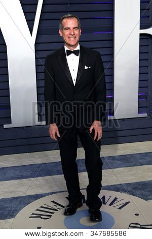 BEVERLY HILLS - FEB 24: Eric Garcetti at the 2019 Vanity Fair Oscar Party at The Wallis Annenberg Center for the Performing Arts on February 24, 2019 in Beverly Hills, CA