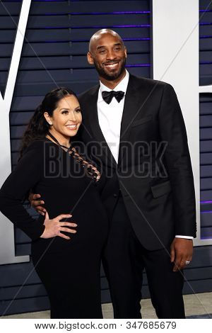 BEVERLY HILLS - FEB 24: Vanessa Laine, Kobe Bryant at the 2019 Vanity Fair Oscar Party at The Wallis Annenberg Center for the Performing Arts on February 24, 2019 in Beverly Hills, CA