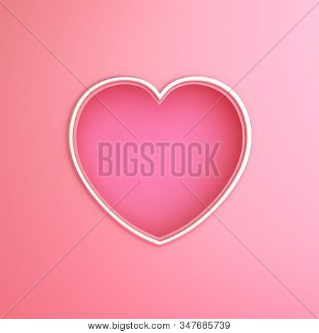 Happy Valentines Day, Valentines Day Background, Pink Gold Window Frame Heart Shape Paper Cut Backgr