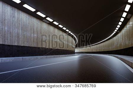 3d render of highway  road tunnel