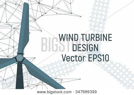 Windfarm Electricity Generator. Electric Energy. Vector Illustration. Modern Industry.