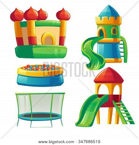 Playroom In Kindergarten With Slide, Ball Pool And Trampoline. Vector Cartoon Set Of Furniture For C