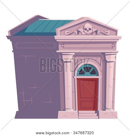 Cemetery Symbol, Crypt With Skull, Cartoon Vector. Ossuary Or Crypt For Burial Of Deceased, Hallowee