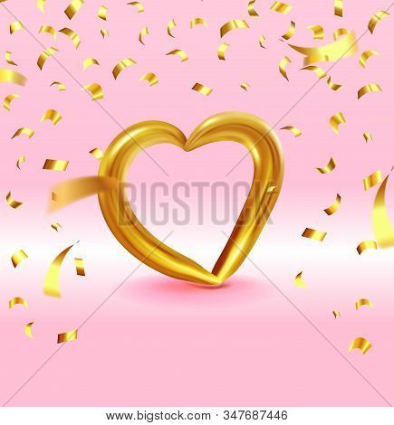 Realistic Gold Metallic Heart With Falling Golden Confetti. Vector Valentines Heart On Pink Backgrou
