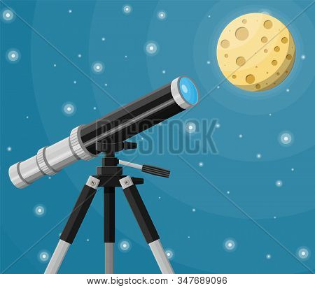 Observation Through Spyglass. Nature Landscape With Telescope, Moon And Stars. Astronomy, Research,