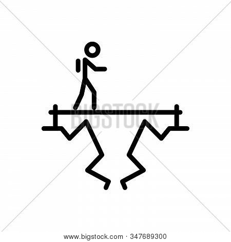 Black Line Icon For Challenge Objective Target Goal Aim Achievement Ambition Fearless
