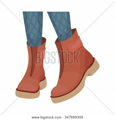 Low Shoes Or Boots With Thick Sole For Autumn Or Spring Season Vector Illustration