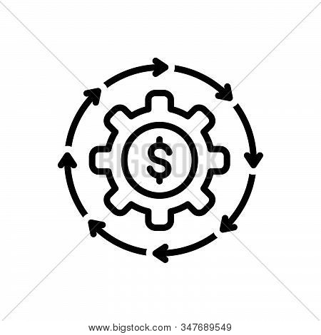 Black Line Icon For Money-flow Cash Recycle Abundance Currency Finance Cycle Circulate Exchange Tran