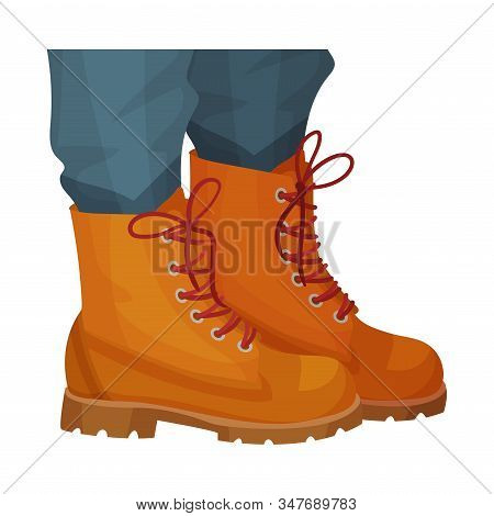 Low Shoes Or Boots With Thick Sole And Shoelace For Autumn Or Spring Season Vector Illustration
