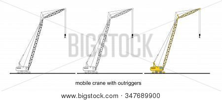 Tower Crane Components, Modern Mobile Crane With Outriggers.  Crane Graphic. Crane Clipart On White