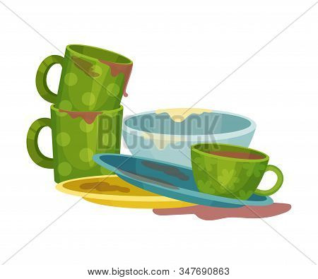 Stack Of Dirty Dishes And Crockery Vector Illustration