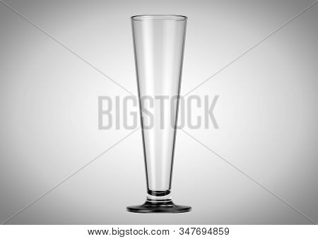 An Empty Pilsener Shaped Beer Glass An Isolated White Studio Background - 3d Renders