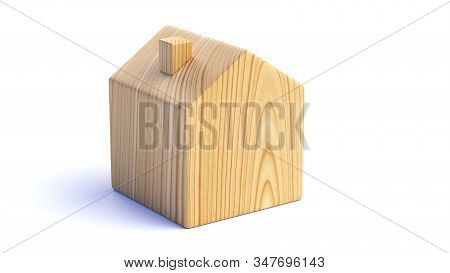 Wooden House Isolated On White Background. 3d Illustration
