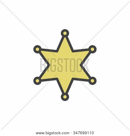 Sheriff S Badge Vector Icon For Sheriff S Star, Wild West, Western, Police, Deputy, Authority Concep