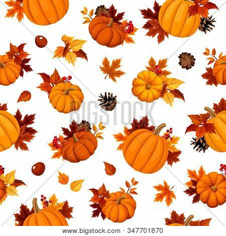 Vector Seamless Pattern With Orange Pumpkins, Autumn Leaves, Pinecones And Chesntuns On A White Back