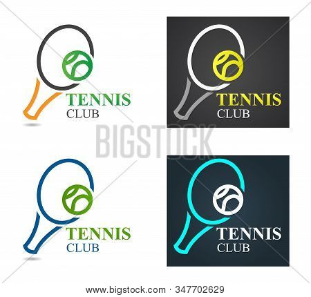 Vector Tennis Sport Logo Design Template. Tennis Emblem Championship.  Tennis Racquet With Green Bal