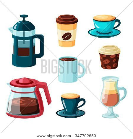 Coffee Mugs Vector Collection In Cartoon Style