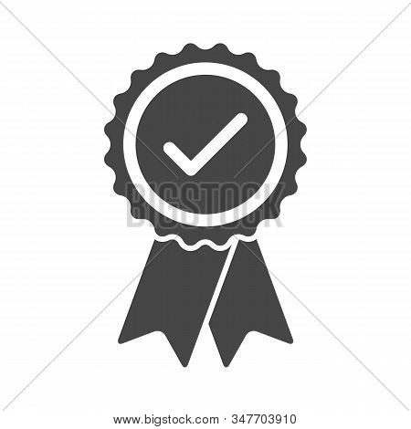Approved Certified Rosette Icon In Flat Style. Accredited And Recommended Medal Symbol Isolated On W