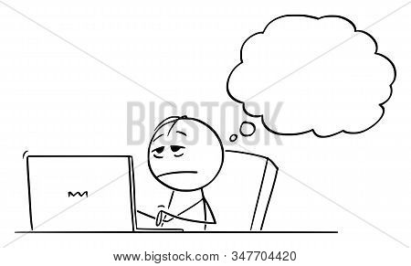 Cartoon Stick Figure Drawing Conceptual Illustration Of Tired, Stressed Or Sleepy Overworked Man Or