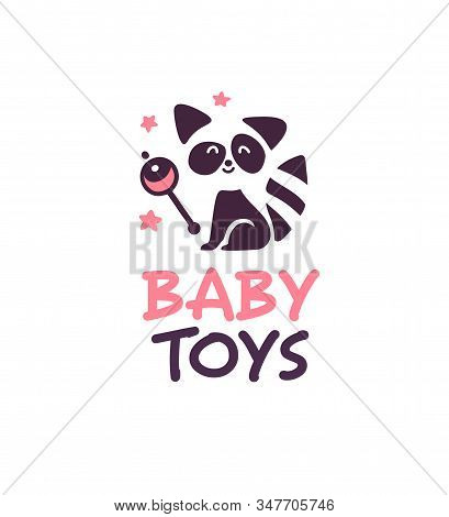 Logo Design For Kid Toys Store, Market, Boutique With Cute Playful Raccoon Character Sit With Rattle