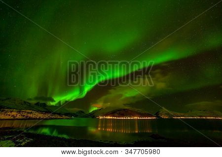 Amazing Aurora Borealis, Northern Lights, Northern Lights, Over Fjord Mountains With Many Clouds In