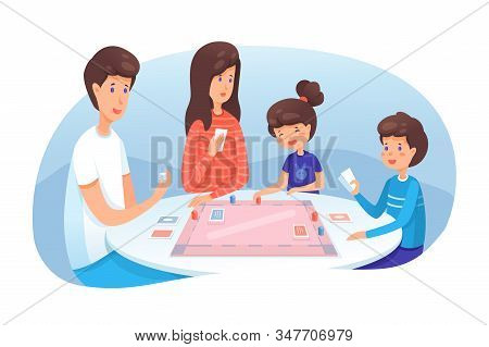 Family Playing Board Game Flat Illustration. Parents With Kids Spending Time Together, Having Fun. M