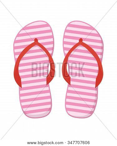 Flip Flops Vector Cartoon Illustration. Pair Of Rubber, Striped Beach Shoes Isometric Clipart. Summe