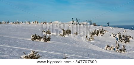 Martinske Hole (martinky) Ski Resort Above Martin Town In Slovakia During Amazing Winter Day With Bl