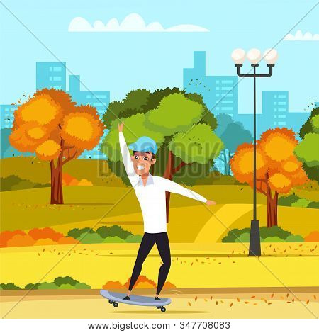 Teenager On Skateboard Flat Vector Illustration. Young Smiling Skateboarder, Skater In Autumn Park C