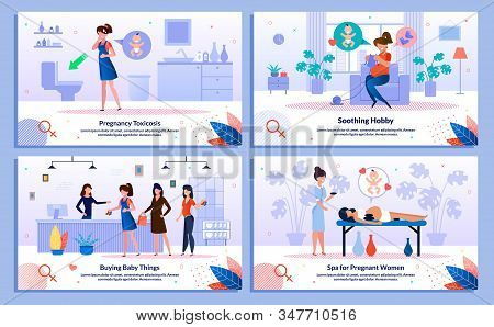 Shopping During Pregnancy, Morning Sickness, Pleasure For Pregnant Trendy Flat Vector Banner, Poster
